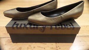 New-Luxury-Rebel-LR-FARAH-Womens-Brass-Leather-Flat-Dress-Shoes-38-M-Eur-US-7-5