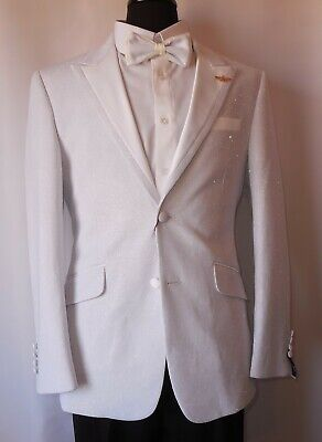Mens Sparkly Navy Blue Floral Lapel Tuxedo Slim Fit Jacket Bow Tie Barabas R7001