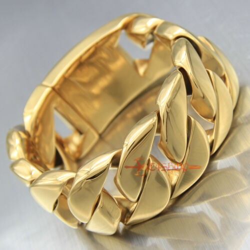 Lourd Plaqué or Acier Inoxydable 316 L Cubain Curb Link Chain Men/'s Bracelet 31 mm