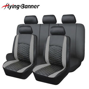 Car-Seat-Covers-Set-PU-Leather-Universal-embroidery-van-low-bucket-grey-charcoal
