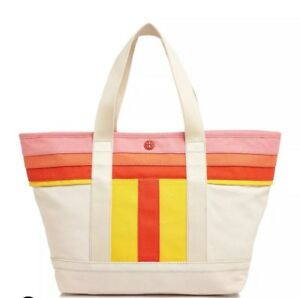 739c365c11bc NEW Tory Burch Strip T Canvas East West Beach Shopper Tote Bag Pink ...