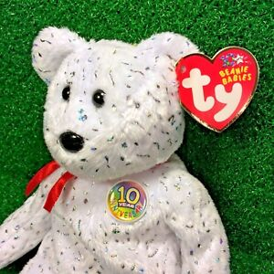 1116bc7bc6e NEW Ty Beanie Baby Decade The White Version 10 Year Bear - MWMT ...