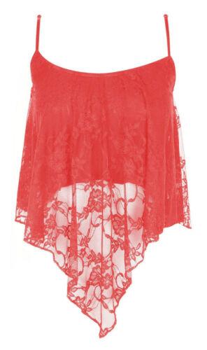 Women Ladies Mesh Lace Dip Handkerchief Hanky Hem Cami Vest Strappy Crop Top