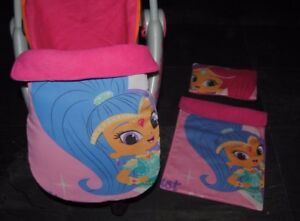 character pink shimmer and shine doll pram cot blanket pillow or stayput blanket