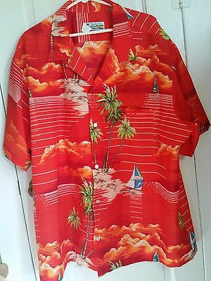 EXC! Genuine Made in HAWAII Hawaiian Shirt Men's 4XL Red Palm Trees Luau Boats
