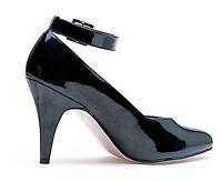 Black Pumps D Width Wide 4 Heel d Width Ankle Strap Larger Sizes 10-16 8241-d