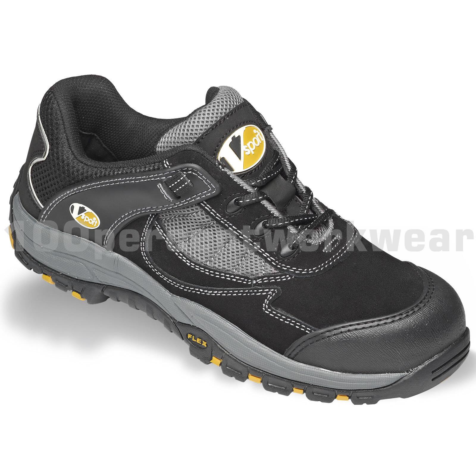 V12 VS300 seguridad Vtech Fastlane Trabajo Zapatillas Zapatos Negro gris Puntera De Gamuza Nuevo