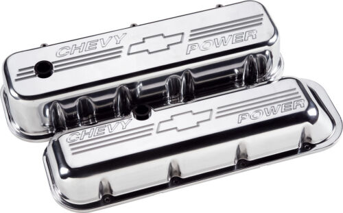 "BILLET SPECIALTIES /""CHEVY POWER/"" POLISHED ALUMINUM BBC TALL VALVE COVERS,CHEVY"