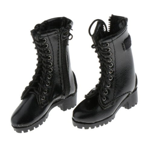 1//6 Fashion High Heel Mid Calf Boot Shoes for 12inch Action Figure Black