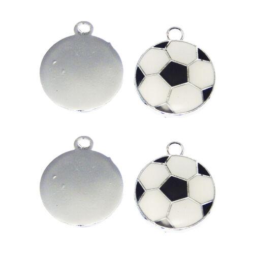 20pcs Silver Tone Alliage Émail peint Noir Blanc Football Charms Pendants 37048