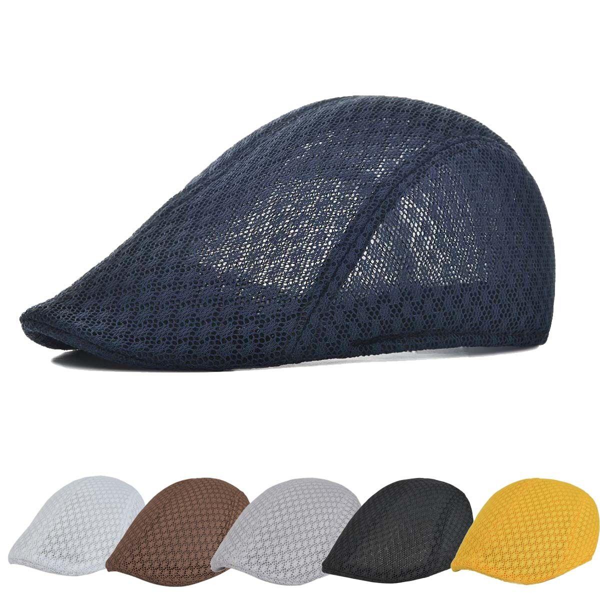 4a487be9388 Summer Unisex Breathable Mesh Beret Hat Golf Cabbie Flat Gatsby Caps  Headdress