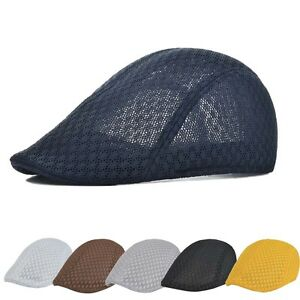 Summer Men s Breathable mesh Beret Newsboy Ivy Hiking Cabbie Flat ... 7f7f69cc660
