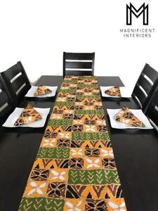 Table Runner Amp Napkins African Print Tribal Ethnic Home Decor Green Orange Gift
