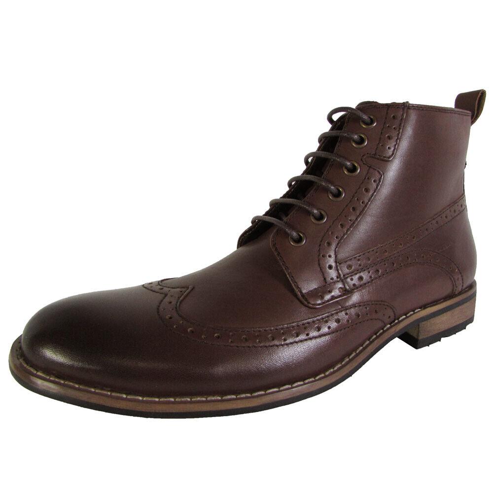Steve madden Herren P-Helper Wingtip Oxford Stiefel Schuhe, Braunes Leder, Us 13
