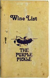 The Purple Pickle Original Vintage Restaurant Wine List Menu