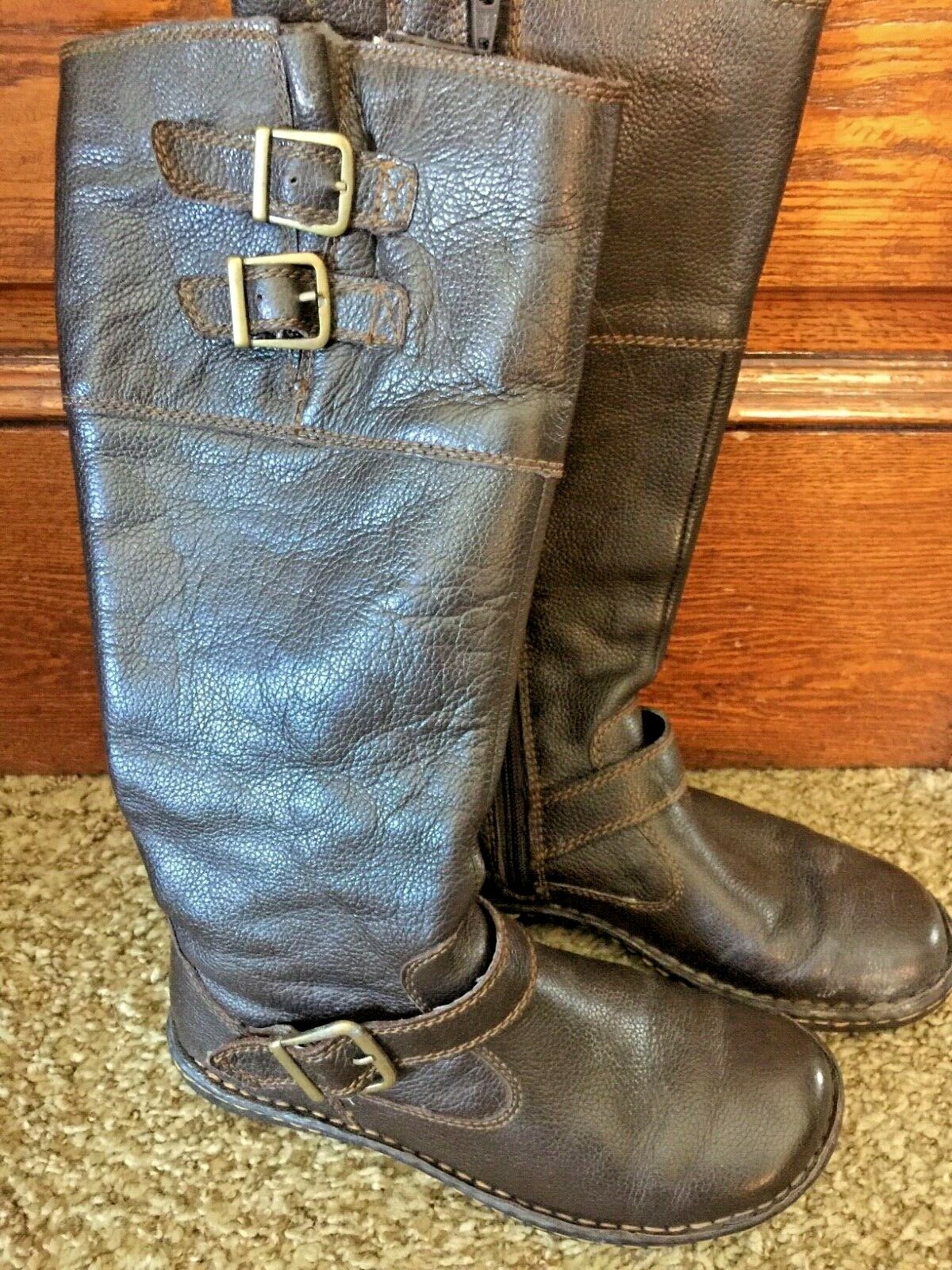 B.O.C BORN CONCEPTS Talll Brown GENUINE LEATHER Side Zipper BOOTS sz 7, EUC
