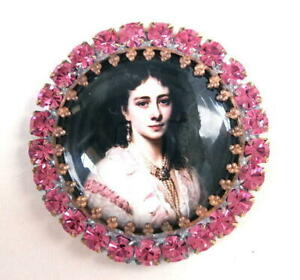 Vintage-Style-Czech-ALL-Glass-Rhinestone-Pin-Brooch-T047-SIGNED