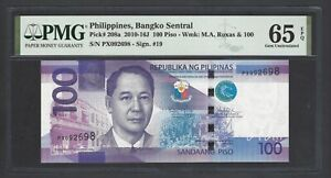 Philippines 100 Piso 2010-16j P208a Uncirculated Grade 65