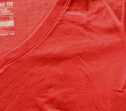 NWT Womens Nike S Bright Orange Cotton Dri-Fit V-Neck Shirt Small