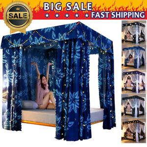 Thicken-Mosquito-proof-Light-proof-4-Corner-Bed-Curtain-Canopy-Netting-Frame-NW