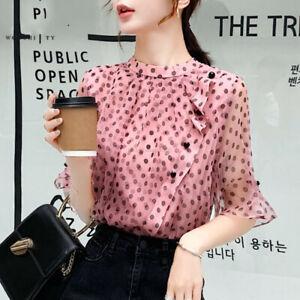 Fashion-Summer-Womens-Polka-Dot-Bell-Short-Sleeve-Casual-Party-Shirt-Blouse-Tops