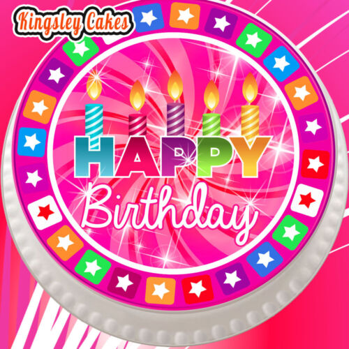 PRECUT EDIBLE ICING CAKE TOPPER 7.5 INCH HAPPY BIRTHDAY PINK CANDLES JC-HB015