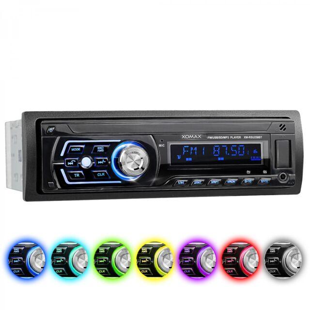 AUTORADIO CON BLUETOOTH VIVAVOCE 7 COLORI USB SD AUX MP3 SINGOLO 1DIN SENZA CD