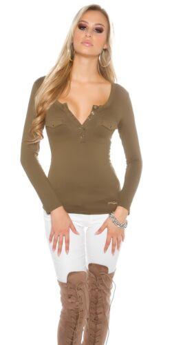 Koucla Shirt Langarmshirt mit Knöpfen