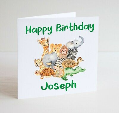 Safari Birthday Greeting CardPersonalization Available