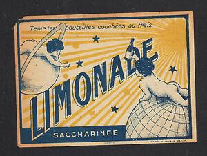 ETIQUETTE-ANCIENNE-de-LIMONADE-Saccharinee-Decor-ENFANT-amp-PLANETES-ASTRALES