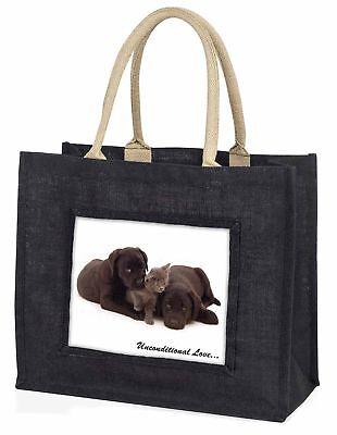 Schwarzer Labrador und Katze große schwarze Einkaufstasche Weihnachtsgeschenk