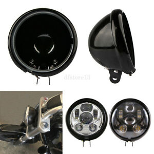 5-75-034-moto-rond-Shell-Seau-Logement-Phare-Couverture-LED-Housing-pour-Harley