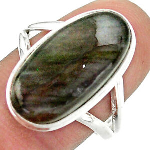 12.89cts Natural Labradorite Spectrolite Silver Solitaire Ring Size 9 T41696