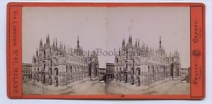 Milan Italia Stereo Felice Crespi Vintage Albumina Ca 1865