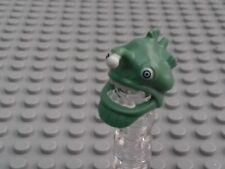 1 x SAND GREEN MINIFIGURE HEADGEAR MASK FISH HEAD OPEN MOUTH WHITE TEETH /& EYES