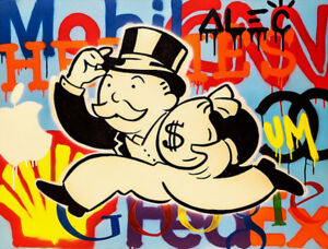 """Alec Monopoly Oil Painting on Canvas Graffiti Home Wall Decor Brands 28x36"""""""