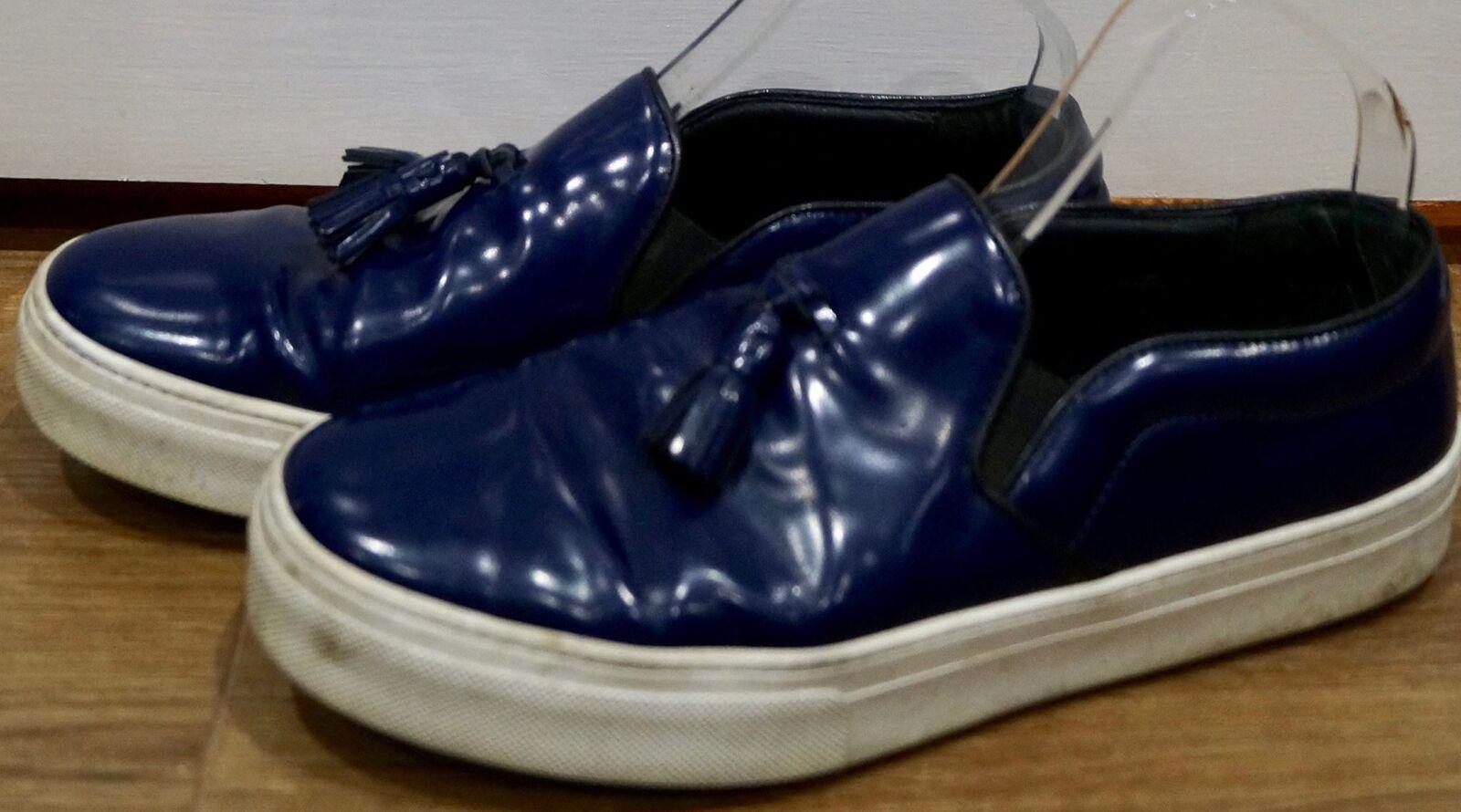 CELINE Paris blu in pelle nappa suola in gomma anteriore Bianco Casual Scarpe Da Ginnastica Trainer