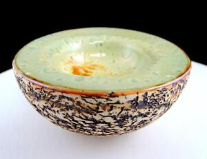 Carol-Lebreton-Firmado-Art-Ceramica-Marron-Corteza-Texturizado-14cm-Canto-Cuenco