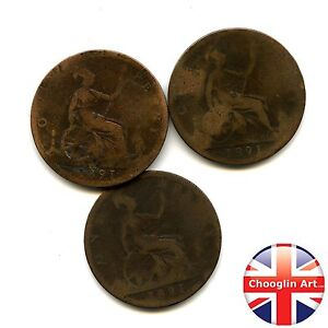 Collection of x3 British Bronze 1891 VICTORIA PENNY Coins    Ref1891_03839 - Buckinghamshire, United Kingdom - Collection of x3 British Bronze 1891 VICTORIA PENNY Coins    Ref1891_03839 - Buckinghamshire, United Kingdom