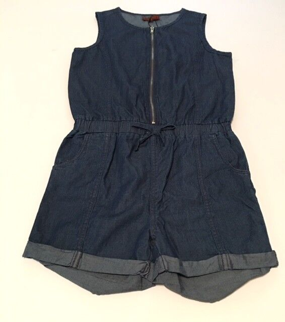 7 For All Man Kind Girls Sleeveless Jean Romper w  Front Zipper NWT Size L Large