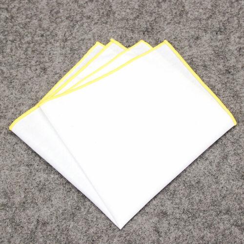 Solid WHITE Color Edge Handkerchiefs Men Pocket Square Handkerchief Cotton