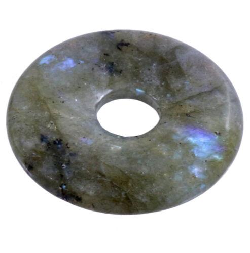 La labradorita donut remolque Edelstein 30 mm discos piedra Pi Heil piedra