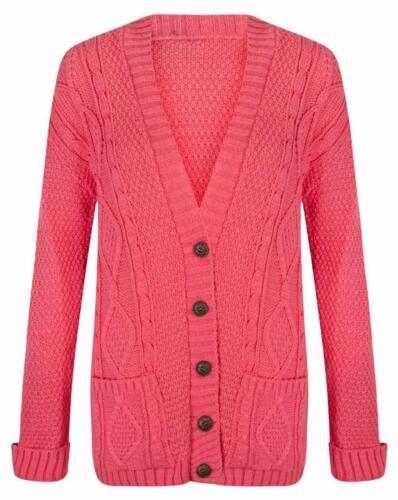 Ladies Women Chunky Winter Long Sleeve Aran Cable Knitted Grandad Cardigan