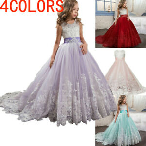 Kid-Girls-Lace-Bridesmaid-Maxi-Full-Dress-Party-Princess-Lace-Embroidery-Dresses