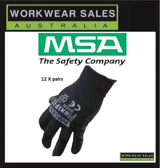 MSA Flexfit Nitrile Lightweight Comfortable Work Gloves Black, Size XL 12 Pairs