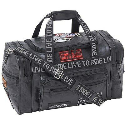 """Black 17"""" Leather Travel Duffle Bag, Mens Overnight Motorcycle Carry-On Suitcase"""