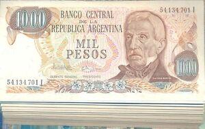 UNC P304d Serie I Argentina 1000 pesos 1976-1983 Grl  San Martin