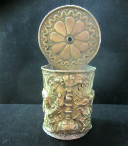 Rare-Antique-Large-Repousse-Brass-Fireplace-Hanging-Match-Safe-Signed-Lions-Rams