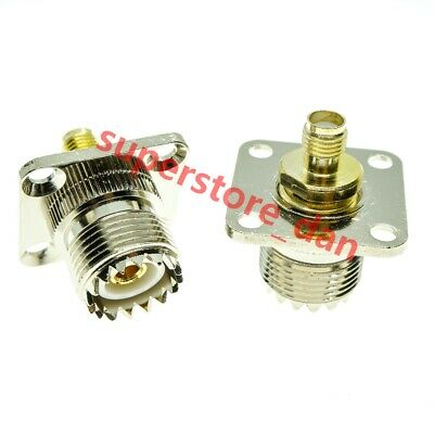 UHF Female to UHF SO239 Female jack in series flange mount RF Adapter Connector