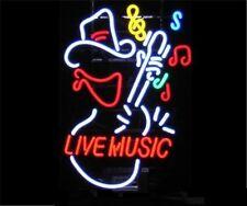 "New Live Music Guitar Cowboy Bar Neon Sign 17""x14"" Ship From USA"